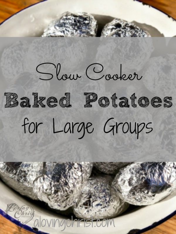 If you're cooking for a large group such as a women's retreat or group gathering, this recipe for slow cooker baked potatoes is the best!